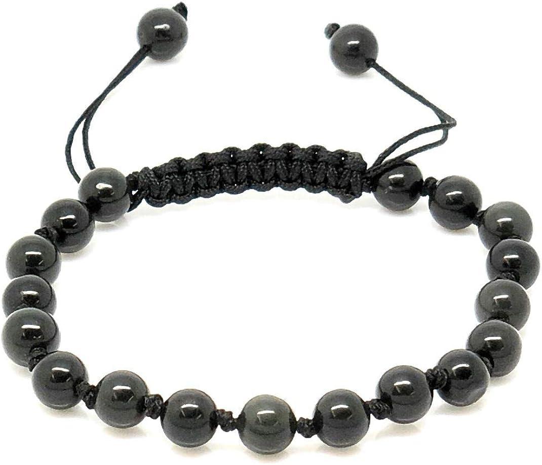 Jiveli cuentas de piedras preciosas pulsera de 6 mm de macramé ajustable anudada - se adapta a niños y adultos - para chakra, reiki, piedra de nacimiento, equilibrio energético