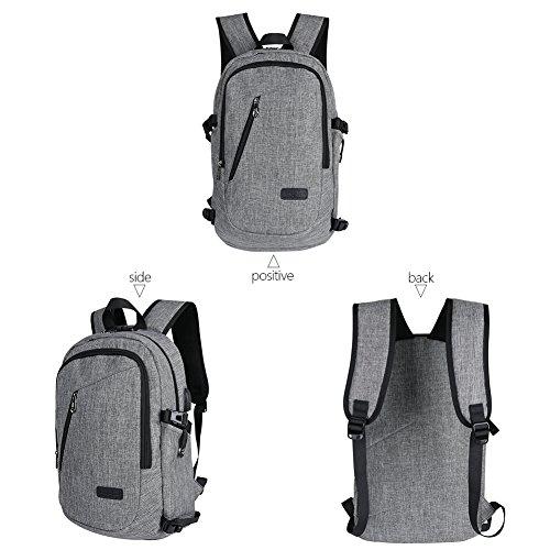 UM Business zaino per laptop con porta USB di ricarica, scuola borsa zaino Zaino impermeabile per gli uomini, donne, lavorare, viaggiare, college-anti furto design/grigio