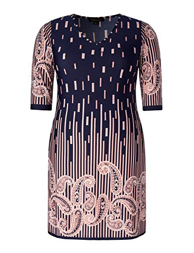 Chicwe Women's Plus Size Stretch V Neck Paisley Printed Casual Dress with Side Pockets Navy Paisley 1X