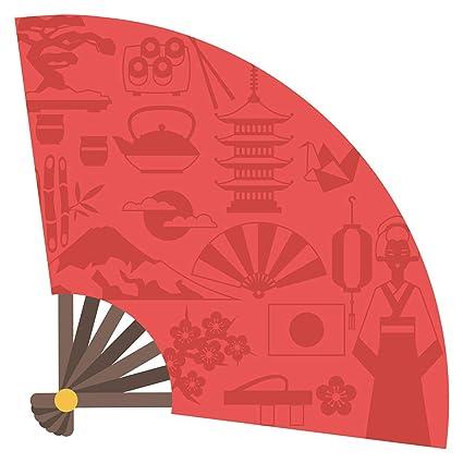 Pegatina de pared Salón Asia Abanico asiático con elementos ...