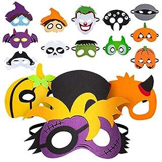 15pcs Halloween Felt Masks, Pumpkin Ghost, Witch, Bat for Halloween Cosplay Masks, Halloween Favors for Boy and Girls, Halloween Party Supplies