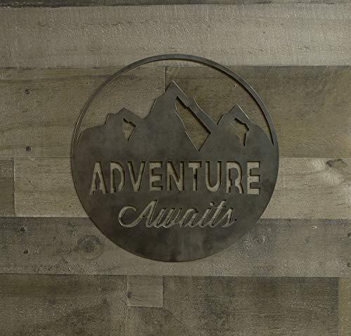 Adventure Awaits Round Metal Sign, Industrial, Farmhouse Decor, Cabin Wall Art ()