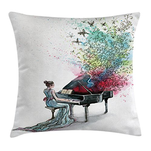 Ambesonne Music Decor Collection Grand Piano Decorative Square Accent Pillow Cover