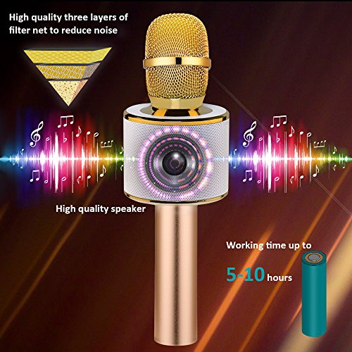 BONAOK Wireless Bluetooth Karaoke Microphone, Easter Gift 3-in-1 Portable Hand microphone Speaker Machine for iPhone/Android/iPad/Sony/PC or All Smartphone(Gold) - Image 3
