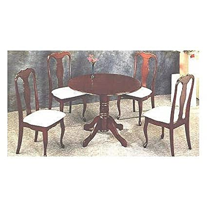 Amazing Amazon Com 5Pc Queen Anne Style Cherry Finish Round Dining Download Free Architecture Designs Scobabritishbridgeorg
