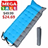 ihoven Premium Self-Inflating Sleeping Pad, Inflatable Foam Sleeping Mat for Camping, Travelling - Lightweight, Compact and Durable - Works Perfectly with a Mummy or Envelope Sleeping Bag (Blue)