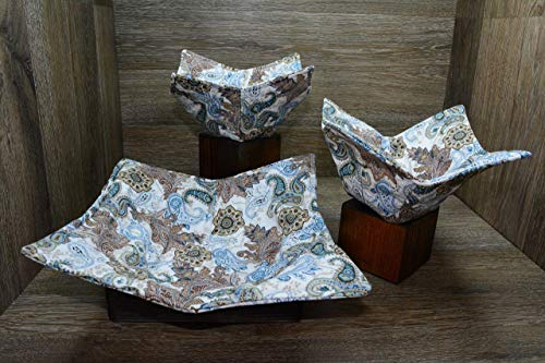 - Microwave Bowl Cozies, Set of 3, 1 Small Bowl Cozy, 1 Medium Bowl Cozy and 1 Dinner Plate Cozy, Botanical Paisley