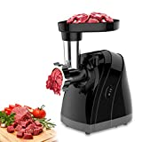 Meat Grinder Electric Stainless Steel Sausage Maker, Meat Mincer Sausage Stuffer with Grinding Plates for Home Use(Black)