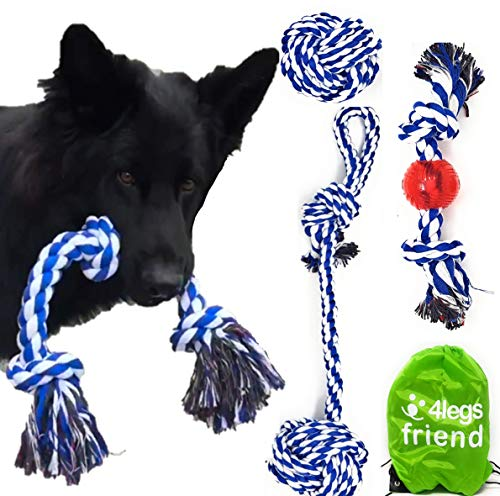 4LegsFriend Rope Toys for Large Dogs & Puppies 4-Pack – Natural Cotton Rubber Tug-of-War Toy Set – Tough Dog Toys for…