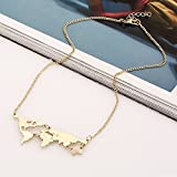 Hua Yang|Women New Fashion Vintage Charm Necklace Unique Globe World Map Pendant Chain Necklace Gold