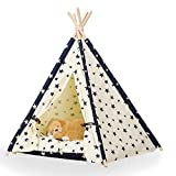 Dog Tent, DEWEL Pet Teepee Dog Cat Toy House Portable Washable Pet Bed for Dog Cat (Without Cushion)