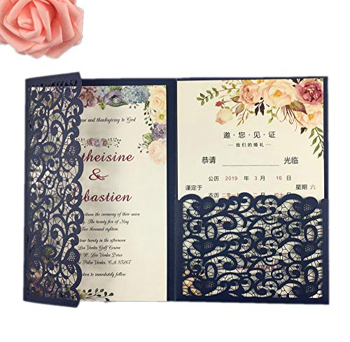 25 sets Pearl White/Ivory/Navy Blue/Burgundy paper Tri Fold Vertico pocket Laser Cut Vintage Wedding Invitations Cards Hollow Carving Greeting invites Engagement Birthday Bridal Show (dark navy blue)