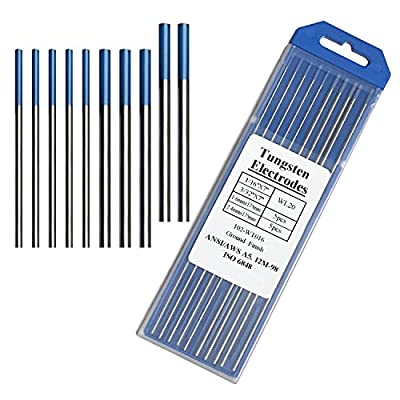 "Tig Welding Tungsten Electrodes, 2% Lanthanated Blue Tungsten Assorted Welding Rods--Blue 5PCS 3/32"" + 5PCS 1/16"""