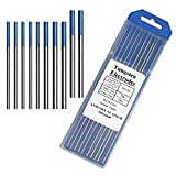 Tig Welding Tungsten Electrodes, 2% Lanthanated Blue Tungsten Assorted Welding Rods-Blue 5PCS 3/32' + 5PCS 1/16'
