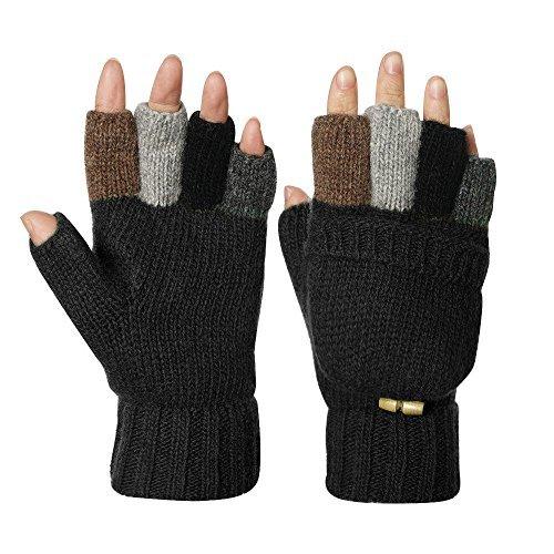 Knitted Glove Warm Wool Sentry Mitten Winter Convertible Glove with Mitten Cover -