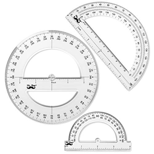 Mr. Pen- Protractor, 9 Pc Protractor Set, Protractor Ruler, Drafting Tools, Circle Protractor, Protractor for Kids, Protractors Classroom Set, Large Protractor, Protactor 360 Degree, Math Geometry Set