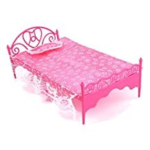Bedroom Furniture Toy - SODIAL(R) Beautiful Plastic Bed Bedroom Furniture For Barbie Dolls Dollhouse