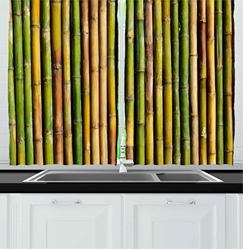 Ambesonne Kitchen Decor Collection, Bamboo Background Nature Zen Image Home Interior Design Cafe Asian Style Art Greenery, Window Treatments for Kitchen Curtains 2 Panels, 55X39 Inches, Green Yellow (Bamboo Panels Window)