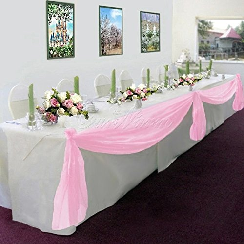 (GorgeousHome 1 Light Pink Swag Valance Scarf For Wedding Table Chair Window Wall Church Decor Pole Voile Fabric Size (6 YARD) 216 Inches Long)