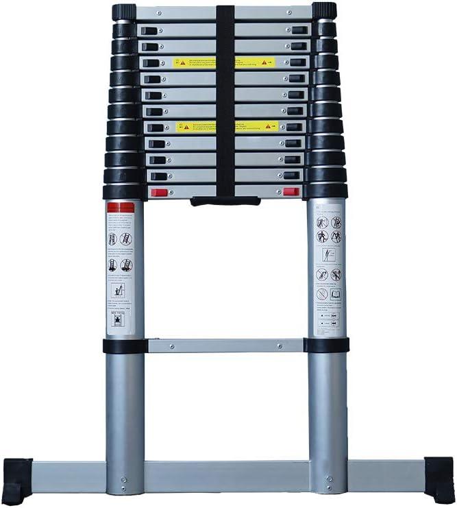 Aldorr - Escalera telescópica (aluminio, altura regulable, con estabilizador, cierre suave, 3,2 m): Amazon.es: Bricolaje y herramientas
