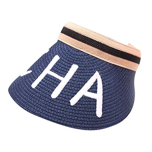 Sunskyi Empty Top Sun Hat for Women - Wide Brim Woven Straw Hat Embroidered Baseball Cap Protection Sun Visor Beach Hat Navy ()