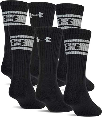 Under Armour Men's Charged Cotton 2.0 Socks, 6-Pair, Black/White, Medium (Under Armour Youth Crew Socks 6 Pair)
