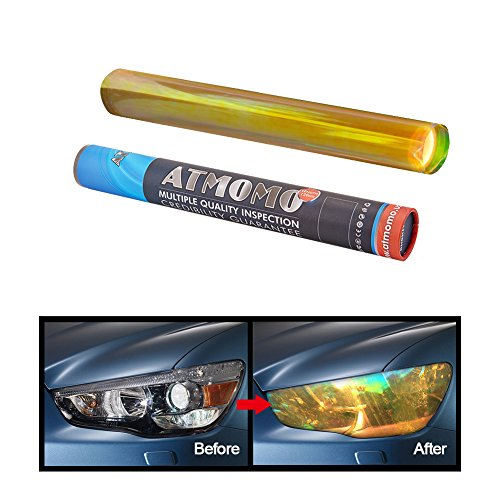 - ATMOMO Golden Yellow 12 by 48 inches Self Adhesive Shiny Chameleon Headlights Films,Film Sheet Sticker,Tint Vinyl Film