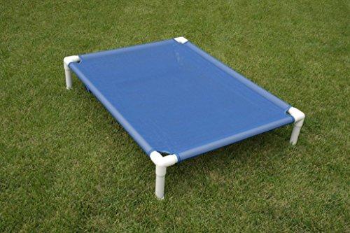 (Raised Mesh Bed, Large Outdoor Dog Bed, Dianes K9 Creations, Handmade PVC Dog Cot, Dog Hammock, Dog Bed, Color Blue, Mesh Dog Bed Size 36