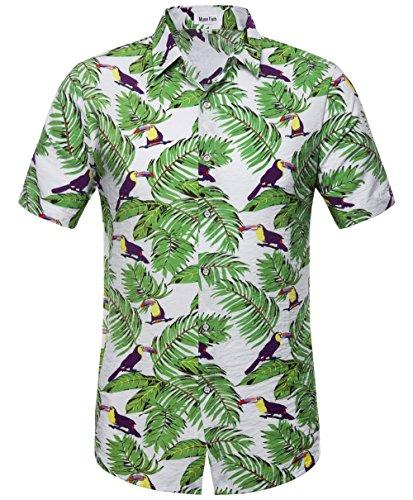 MUSE FATH Mens Cotton Short Sleeve Hawaiian Shirt-Tropical Print Beach Shirt