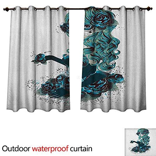 (Anshesix Skull 0utdoor Curtains for Patio Waterproof Vintage Sugar Skull Girl Day of The Dead Bride with Dark Color Roses Graphic W63 x L72(160cm x 183cm))