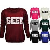 Fashion Wardrobe Sweatshirt Geek Slogan Text Top Sweater Casual T-shirt Jumper Tops