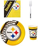 NFL Pittsburgh Steelers Party Packs with Forks/Plates/Cups/Napkins (Serves 20)