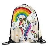 Tomboy Laptop Unicorn Drawstring Backpack For Women Travel String Bag For Sale