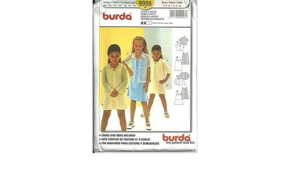 Amazon.com: Burda 9996, Girls Dress & Jacket. Size; 4-5-6-7-8-9-10: Arts, Crafts & Sewing
