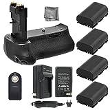 Battery Grip Bundle F/ Canon EOS 70D, EOS 80D: Includes BG-E14 Replacement Grip, 4-Pk LP-E6 / LP-E6N Long-Life Batteries, Charger, UltraPro Accessory Bundle