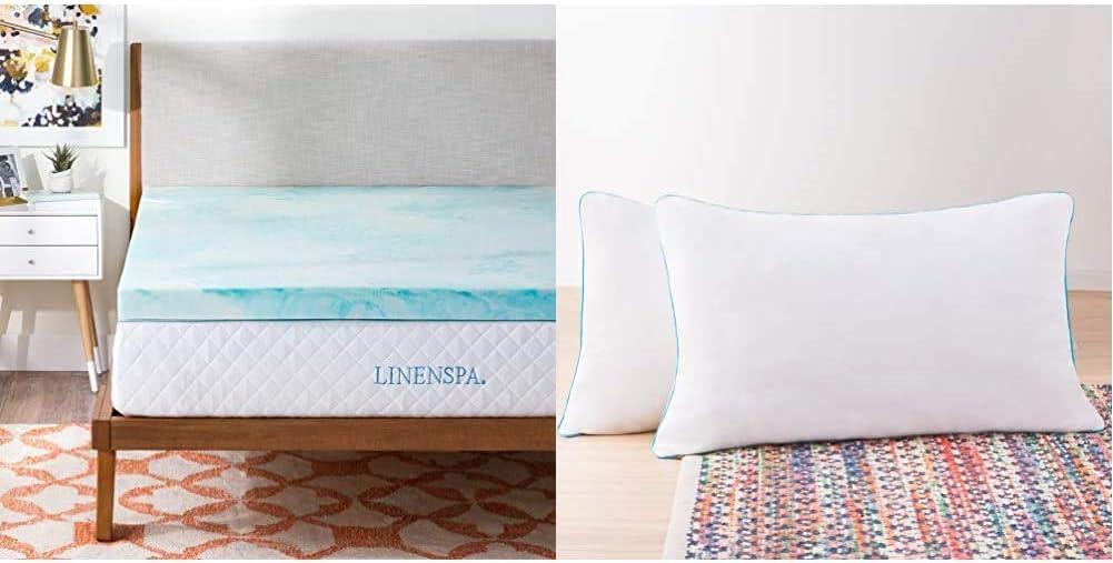 Linenspa 3 Inch Gel Swirl Memory Foam Topper-Queen & 2 Pack Shredded Memory Foam Pillows - Moldable, Fluffable, Customizable - Universally Comfortable - Queen
