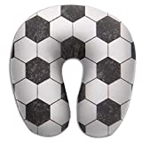 U Neck Pillow Black And White Soccer Sports Airplane Office Travel Memory Foam U Shape Pillow