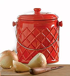 1 Gallon Lattice Ceramic Compost Crock In Red