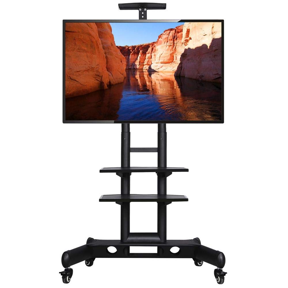Topeakmart Universal Flat Screen Rolling TV Cart Stand Mobile TV Console Stand with Mount for 32-65 inch LED LCD Plasma Flat Panels on Wheels up to 110 Lbs by Topeakmart