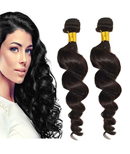 Best-Buy-Box Hair 2 Bundles set Loose Wave Brazilian Virgin(Remy) Hair Extension 200 Gram 12'-30'(12,14,16,18,20,22,24,26,28,30 inch) Natural Color #1B Black (16 16)