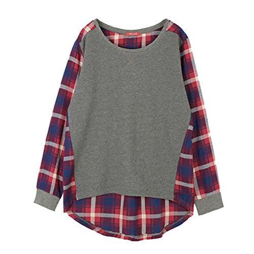 ESHOO Long Sleeve Blouse Plaid Checked Casual Loose T-shirt Blouse Top S-XXL