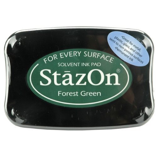 Tsukineko Full-Size StazOn Multi-Surface Inkpad, Forest Green (SZ000099)