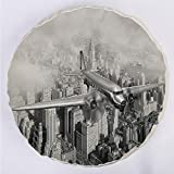 YOUWENll Round Decorative Throw Pillow Floor Meditation Cushion Seating/Nostalgic Dated Plane Flying Over Skyscrapers in New York City Urban Life/for Home Decoration 17'x17' Black and White