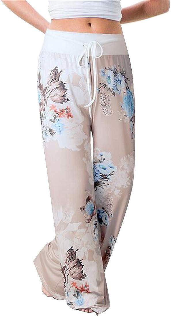 Teapolity Women Casual Sport Elastic Waist Flat-Front Drawstring Print Pants Sweatpants