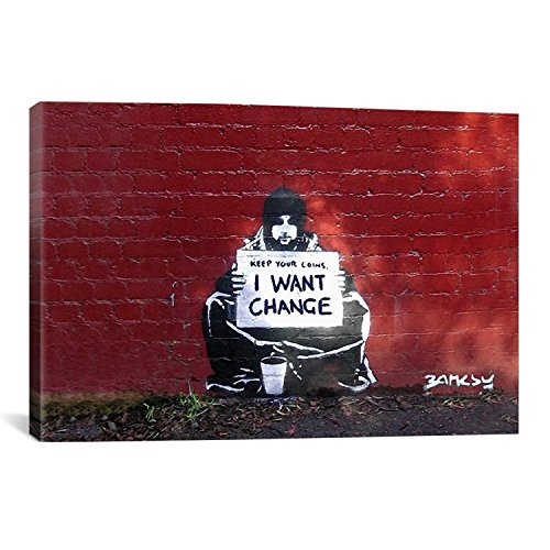 SCPmartsUS Keep Your Coins I Want Change by Banksy The Classic Arts Reproduction, Art Giclee Print Canvas Wall Decor Art Print on Canvas, Stretched Gallery Wrapped, 12