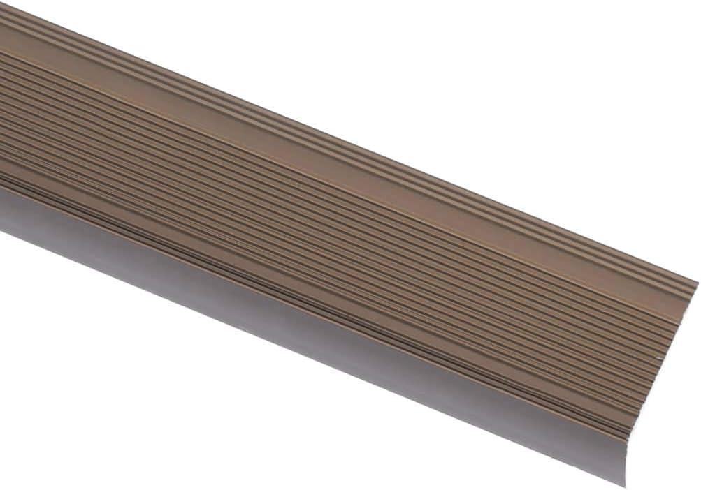 vidaXL 15x Listones de Escalera Forma de L Cantonera Protector Peldaño Escalón Borde Laminado Perfil de Seguridad Aluminio Marrón 134 cm
