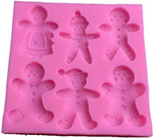 AMOYER 1pc Silicone Gingerbread Man Candy Mold Xmas Fondant Cake Chocolate Clay Decoration Mould Home Kitchen Gumpaste Baking Tools