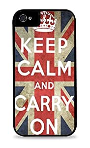Keep Calm and Carry On Black 2-in-1 Protective Case with Silicone Insert for Apple iPhone 5 / 5S