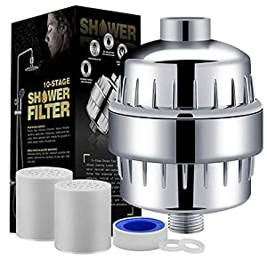 Auxoda 10-Stage Universal Shower Filter with 2 Replaceable Filter Cartridge - Removes Chlorine, Impurities & Sulfur Odor