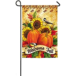 Evergreen Welcome Fall Sunflowers Suede Garden Flag, 12.5 x 18 inches